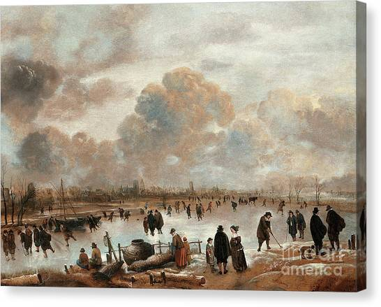 Figure Skating Canvas Print - A Winter Landscape With Skaters And Townsfolk On A Frozen Waterway by Aert van der Neer