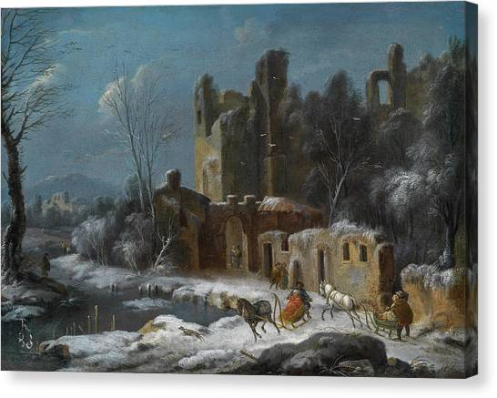 Wyck Canvas Print - A Winter Landscape With Travellers by Thomas Wyck