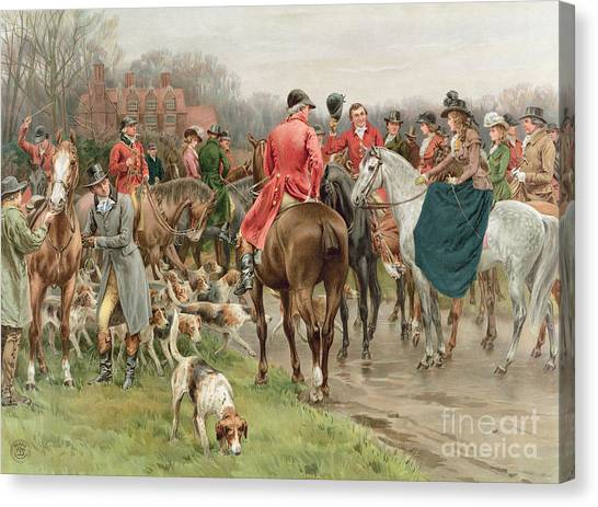 Beagles Canvas Print - A Winter's Morning by Frank Dadd
