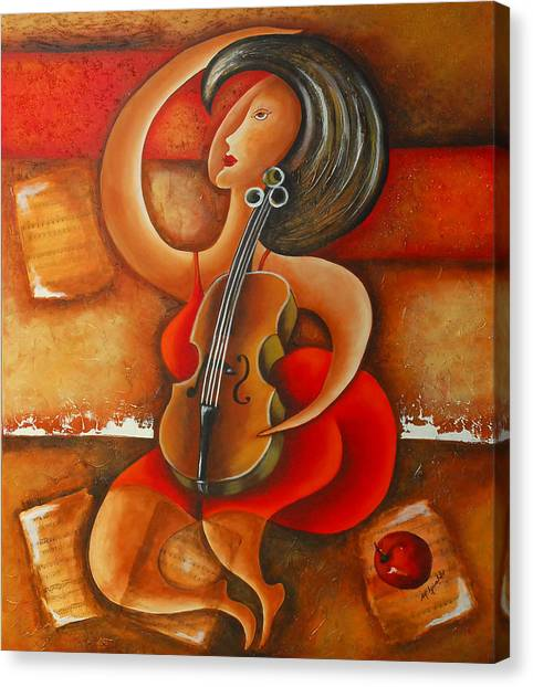 A Woman And Her Violin Canvas Print by Marta Giraldo