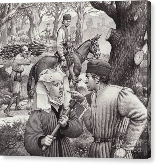 Axes Canvas Print - A Woman Finds Herself In Trouble When She Chops Down The Branch Of A Tree by Pat Nicolle