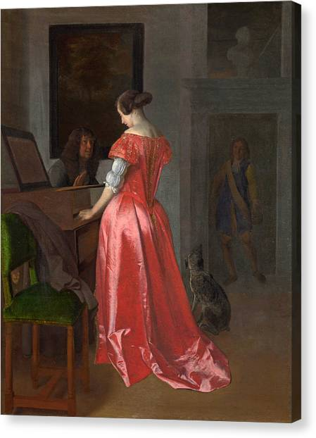Harpsichords Canvas Print - A Woman Standing At A Harpsichord A Man Seated By Her by Jacob Ochtervelt