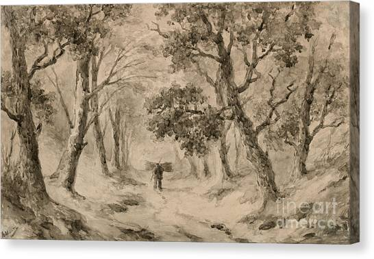 Woodsmen Canvas Print - A Wood Gatherer In The Forest by Anton Mauve
