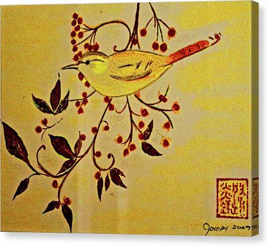 A Wren - In Pastel  Canvas Print