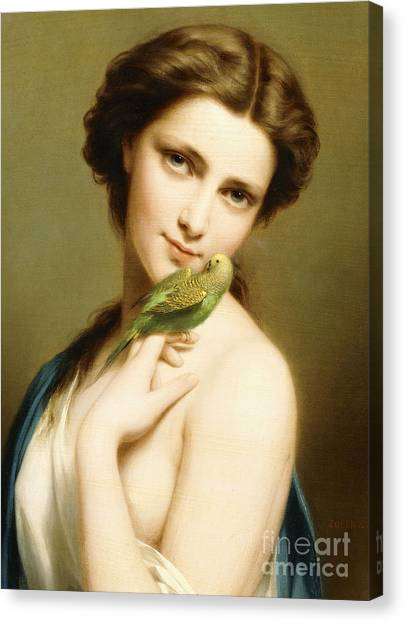 Parakeets Canvas Print - A Young Beauty With A Parakeet by Fritz Zuber-Buhler