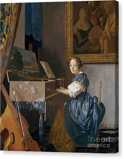 Cellos Canvas Print - A Young Lady Seated At A Virginal by Jan Vermeer