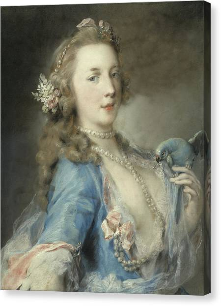 Parakeets Canvas Print - A Young Lady With A Parrot by Rosalba Giovanna Carriera