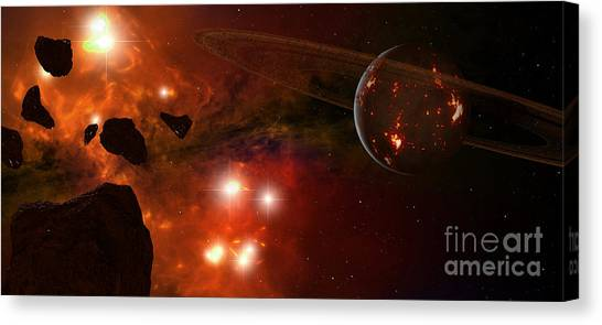 Planetoid Canvas Print - A Young Ringed Planet With Glowing Lava by Frieso Hoevelkamp