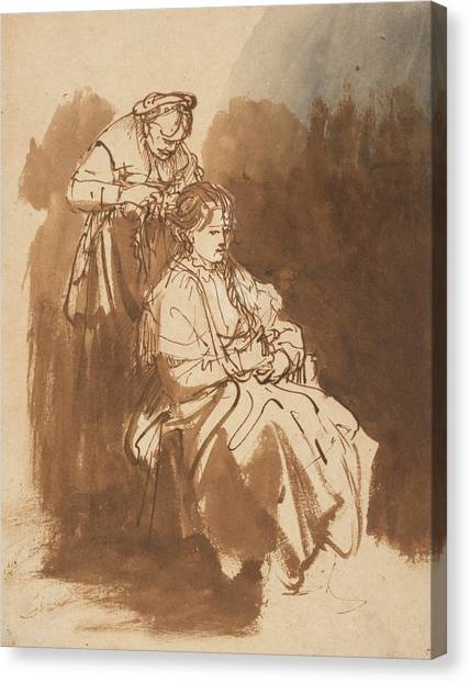 Baroque Canvas Print - A Young Woman Having Her Hair Braided by Rembrandt