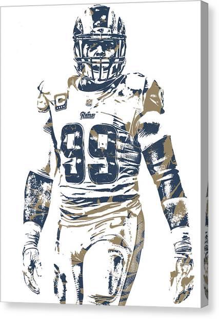 Los Angeles Rams Canvas Print - Aaron Donald Los Angeles Rams Pixel Art 10 by Joe Hamilton