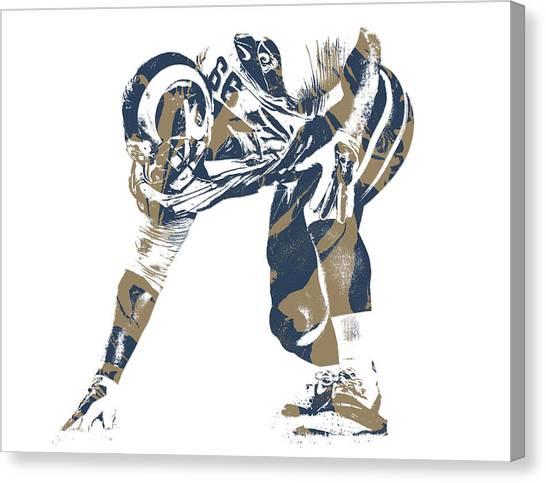 Los Angeles Rams Canvas Print - Aaron Donald Los Angeles Rams Pixel Art 11 by Joe Hamilton