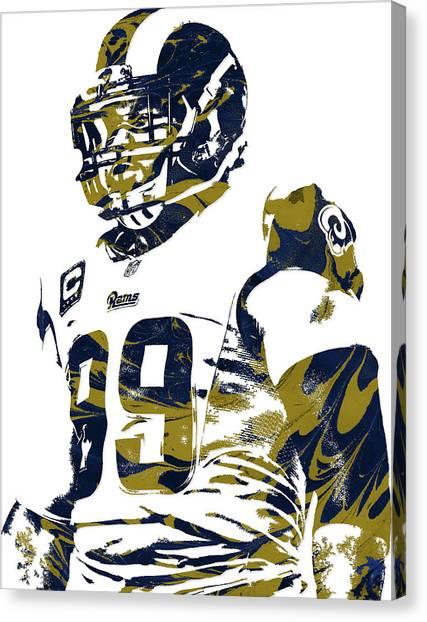 Los Angeles Rams Canvas Print - Aaron Donald Los Angeles Rams Pixel Art by Joe Hamilton