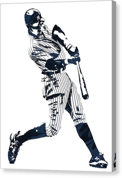 New York Yankees Canvas Print - Aaron Judge New York Yankees Pixel Art 1 by Joe Hamilton
