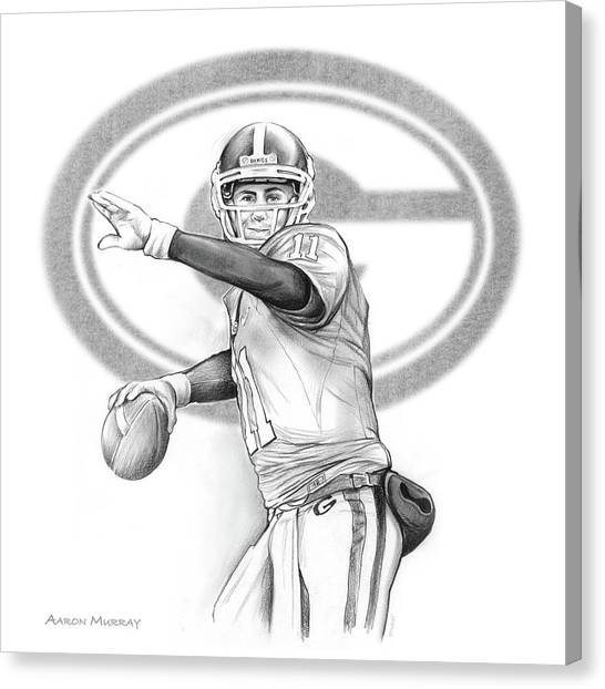Nfl Canvas Print - Aaron Murray by Greg Joens