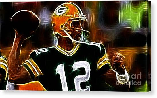 Aaron Rodgers Canvas Print - Aaron Rodgers - Green Bay Packers by Paul Ward