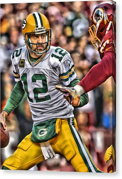 Aaron Rodgers Canvas Print - Aaron Rodgers Art 1 by Joe Hamilton