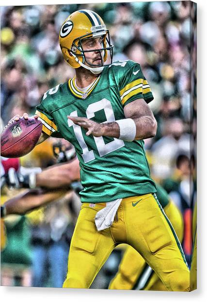 Aaron Rodgers Canvas Print - Aaron Rodgers Art 3 by Joe Hamilton