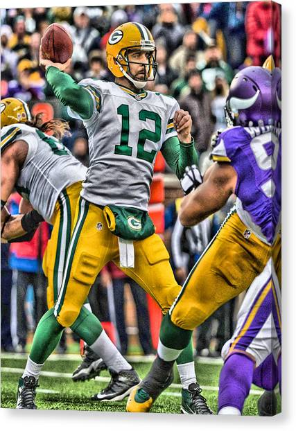 Aaron Rodgers Canvas Print - Aaron Rodgers Art 4 by Joe Hamilton