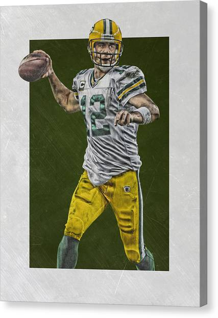 Aaron Rodgers Canvas Print - Aaron Rodgers Green Bay Packers Art 4 by Joe Hamilton