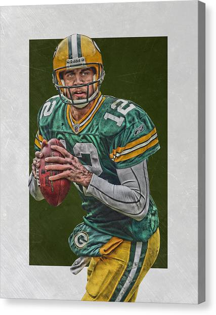 Aaron Rodgers Canvas Print - Aaron Rodgers Green Bay Packers Art 5 by Joe Hamilton