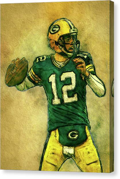 Aaron Rodgers Canvas Print - Aaron Rodgers Green Bay Packers by Jack Zulli