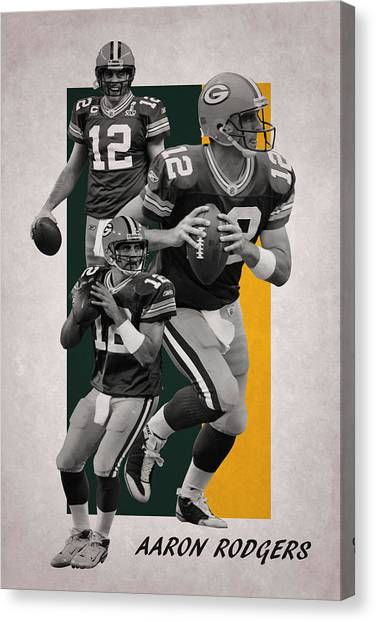 Aaron Rodgers Canvas Print - Aaron Rodgers Green Bay Packers by Joe Hamilton
