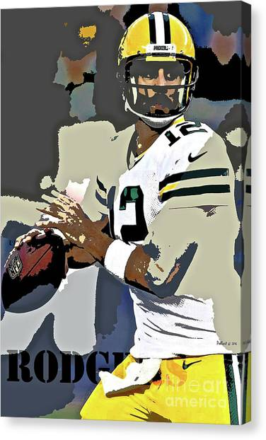New York Red Bulls Canvas Print - Aaron Rodgers, Green Bay Packers, Number 12 by Thomas Pollart