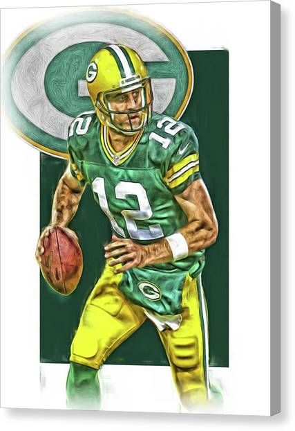 Aaron Rodgers Canvas Print - Aaron Rodgers Green Bay Packers Oil Art 2 by Joe Hamilton