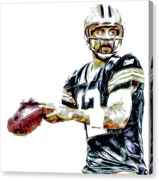 Brett Favre Canvas Print - Aaron Rodgers Green Bay Packers Painted by David Haskett