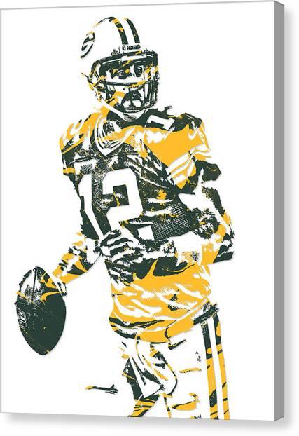 Aaron Rodgers Canvas Print - Aaron Rodgers Green Bay Packers Pixel Art 15 by Joe Hamilton
