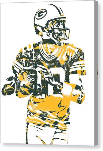 Aaron Rodgers Canvas Print - Aaron Rodgers Green Bay Packers Pixel Art 16 by Joe Hamilton