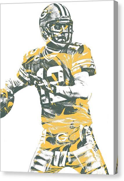 Aaron Rodgers Canvas Print - Aaron Rodgers Green Bay Packers Pixel Art 21 by Joe Hamilton