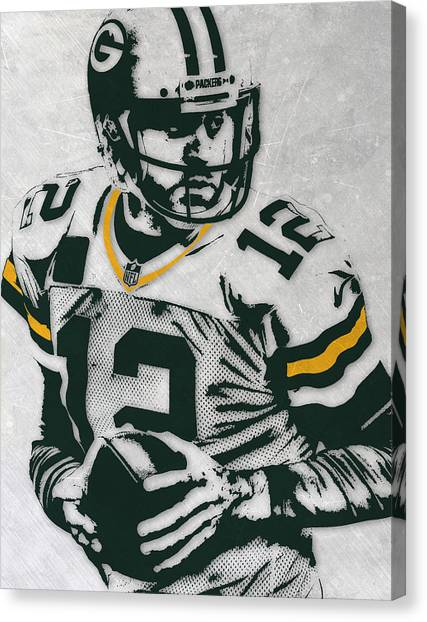 Aaron Rodgers Canvas Print - Aaron Rodgers Green Bay Packers Pixel Art 4 by Joe Hamilton