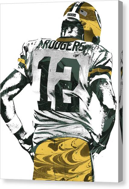 Aaron Rodgers Canvas Print - Aaron Rodgers Green Bay Packers Pixel Art 6 by Joe Hamilton