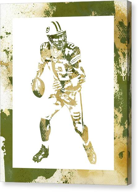 Aaron Rodgers Canvas Print - Aaron Rodgers Green Bay Packers Water Color Art 1 by Joe Hamilton
