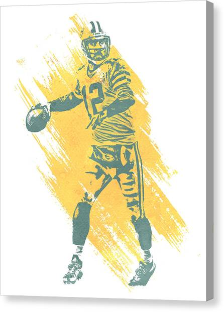 Aaron Rodgers Canvas Print - Aaron Rodgers Green Bay Packers Water Color Art 3 by Joe Hamilton