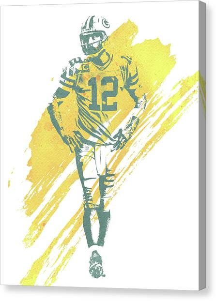Aaron Rodgers Canvas Print - Aaron Rodgers Green Bay Packers Water Color Art 4 by Joe Hamilton