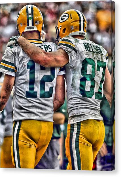 Iphone Case Canvas Print - Aaron Rodgers Jordy Nelson Green Bay Packers Art by Joe Hamilton