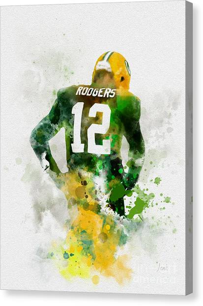Quarterbacks Canvas Print - Aaron Rodgers by Rebecca Jenkins