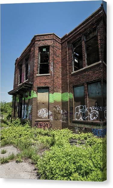 Graffiti Walls Canvas Print - Abandoned Building With Graffiti by Kim Hojnacki