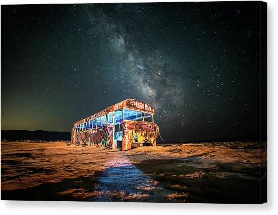 Abandoned Bus Under The Milky Way Canvas Print