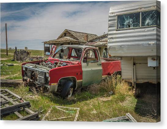 Abandoned Car And Trailer In The Ghost Town Of Cisco, Utah Canvas Print