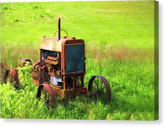 Derelict Canvas Print - Abandoned Farm Tractor by Tom Mc Nemar