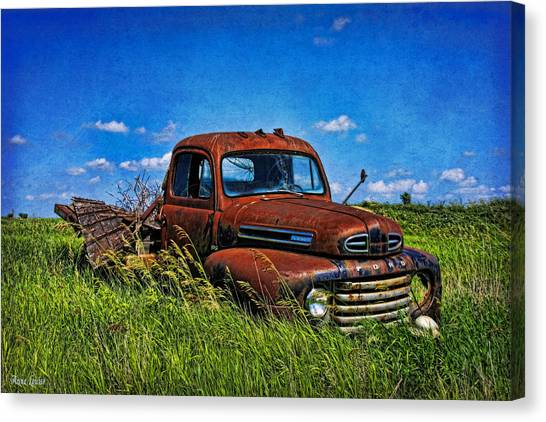 Abandoned Ford Truck In The Prairie Canvas Print