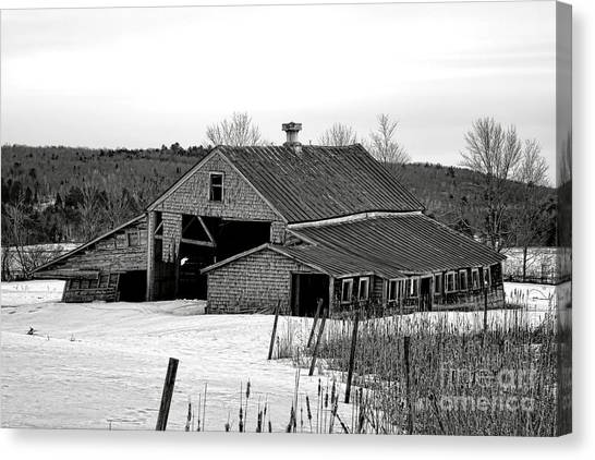 Maine Winter Canvas Print - Abandoned Maine Barn In Winter by Olivier Le Queinec