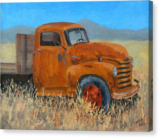Abandoned Orange Chevy Canvas Print