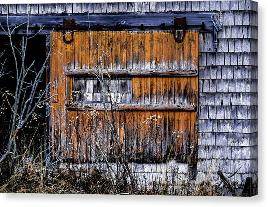 Smokehouses Canvas Print - Abandoned Smokehouse Door by Marty Saccone