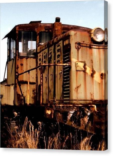 Abandoned Train Canvas Print by Jen McKnight