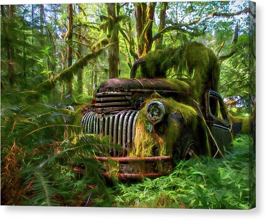 Abandoned In Forest Canvas Print