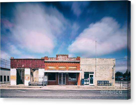 Grocery Store Canvas Print - Abbott A Quitter Never Wins And A Winner Never Quits - Willie Nelson's Birthplace Texas by Silvio Ligutti